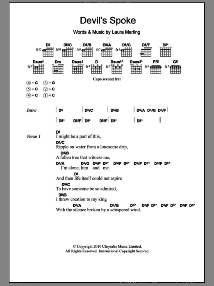 Devil's Spoke sheet music for guitar (chords) by Laura Marling. Score Image Preview.