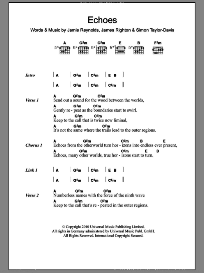 Echoes sheet music for guitar (chords) by Simon Taylor-Davis