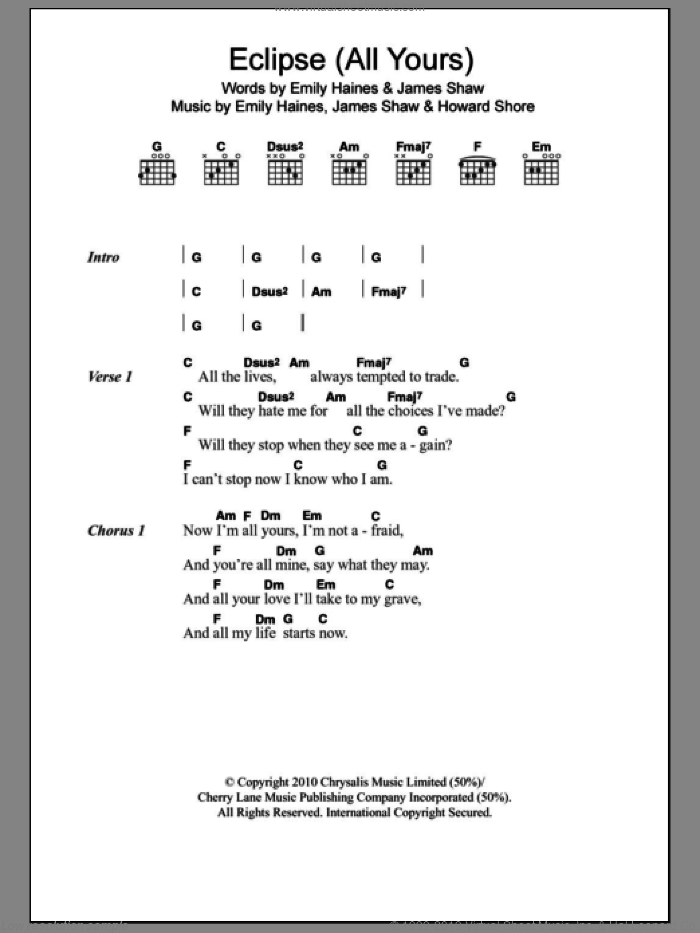 Eclipse (All Yours) sheet music for guitar (chords) by Metric, Emily Haines, Howard Shore and James Shaw, intermediate. Score Image Preview.