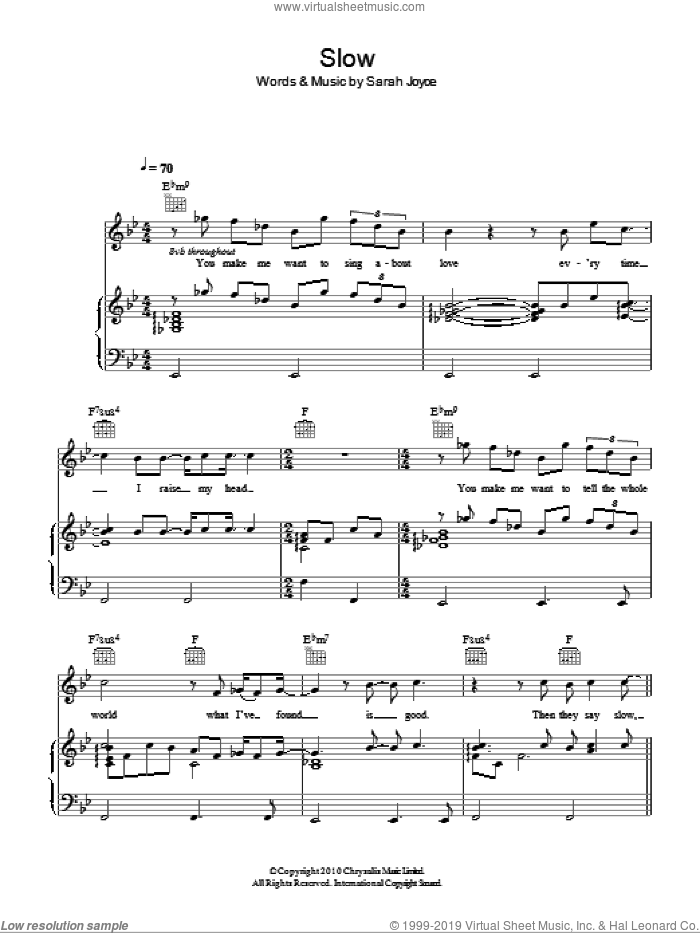 Slow sheet music for voice, piano or guitar by Rumer and Sarah Joyce, intermediate skill level