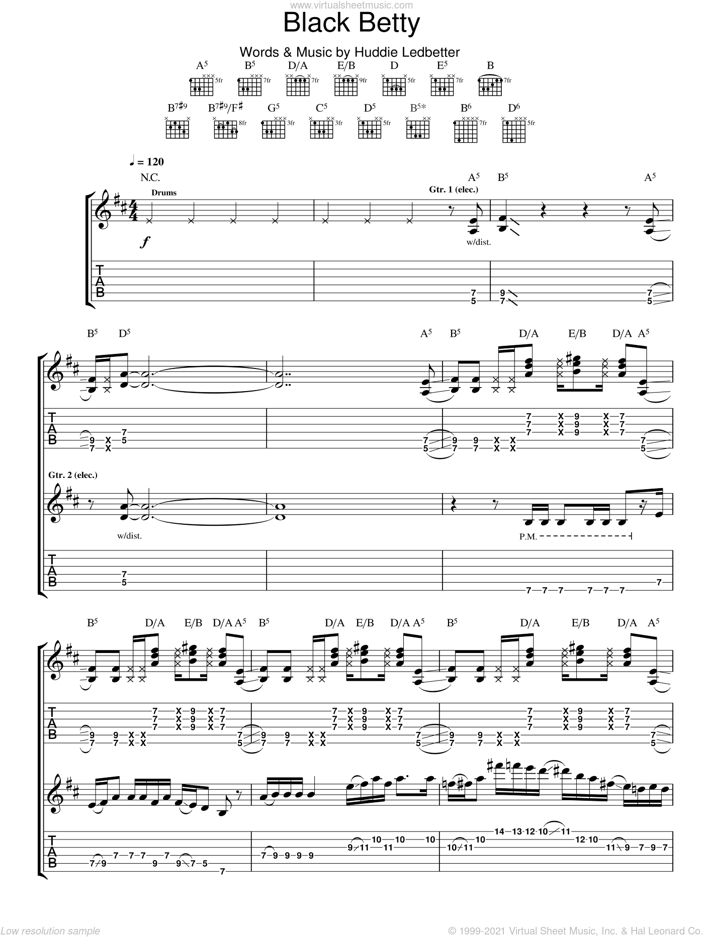 Black Betty sheet music for guitar (tablature) by Huddie Ledbetter. Score Image Preview.