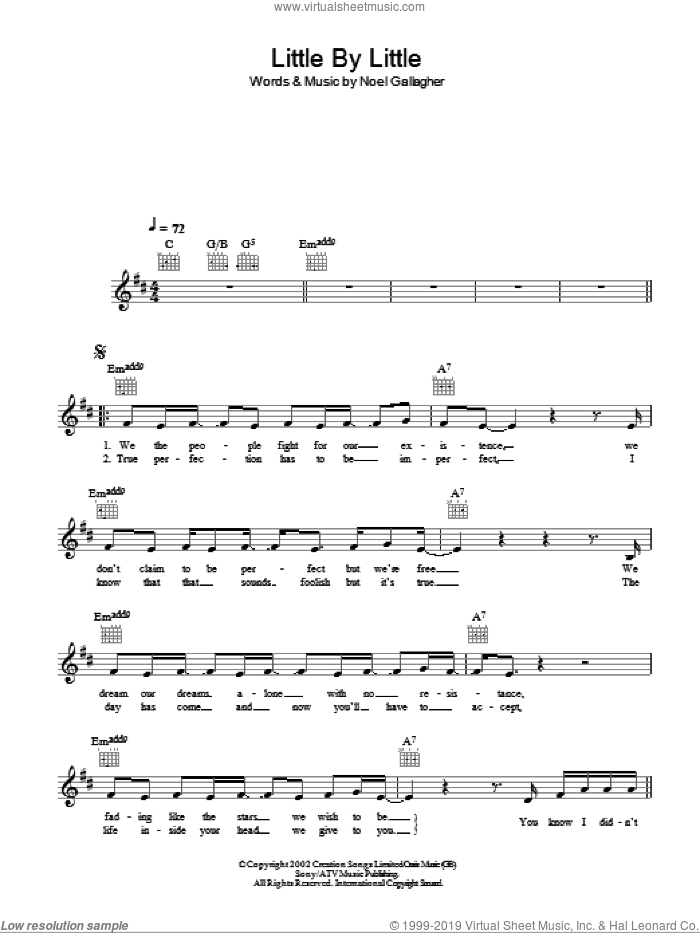 Little By Little sheet music for voice and other instruments (fake book) by Noel Gallagher and Oasis. Score Image Preview.
