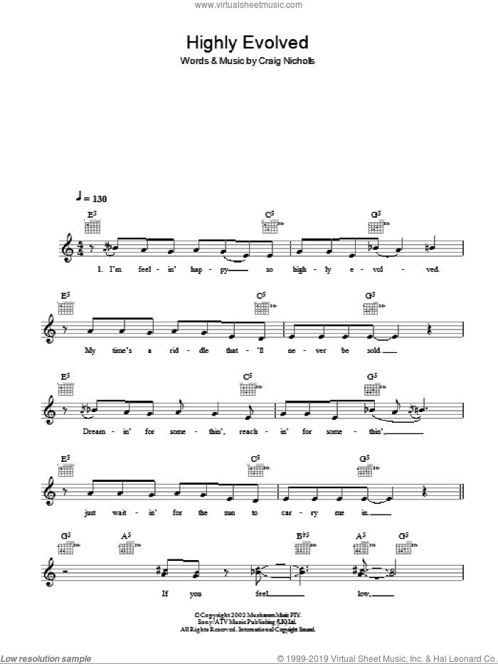 Highly Evolved sheet music for voice and other instruments (fake book) by Craig Nicholls and The Vines. Score Image Preview.