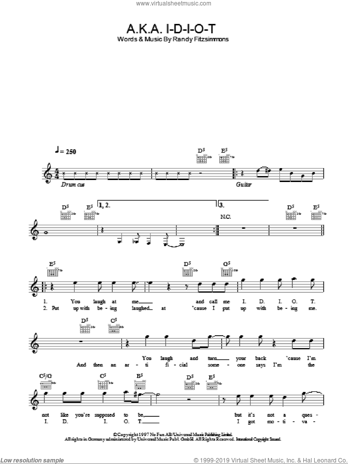 A.K.A. I-D-I-O-T sheet music for voice and other instruments (fake book) by Randy Fitzsimmons and The Hives