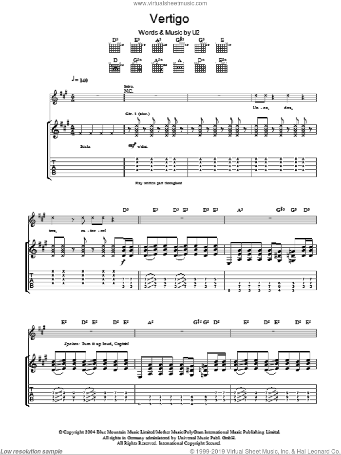 Vertigo sheet music for guitar (tablature) by U2, intermediate. Score Image Preview.