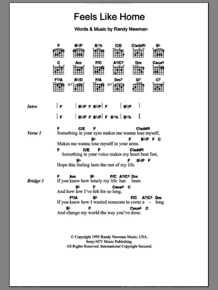 Feels Like Home sheet music for guitar (chords) by Randy Newman. Score Image Preview.