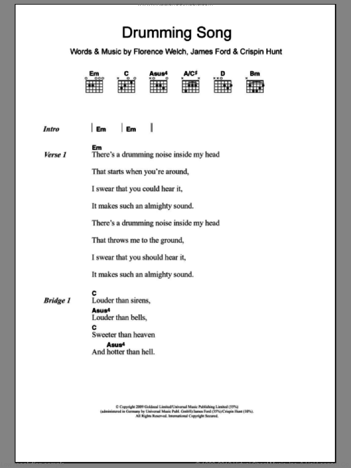 Drumming Song sheet music for guitar (chords) by Florence And The Machine, Florence And The  Machine, Crispin Hunt, Florence Welch and James Ford, intermediate skill level