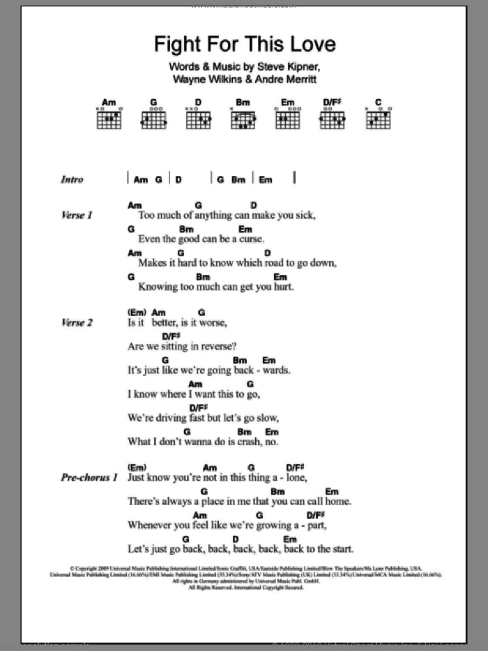 Fight For This Love sheet music for guitar (chords) by Wayne Wilkins and Steve Kipner. Score Image Preview.