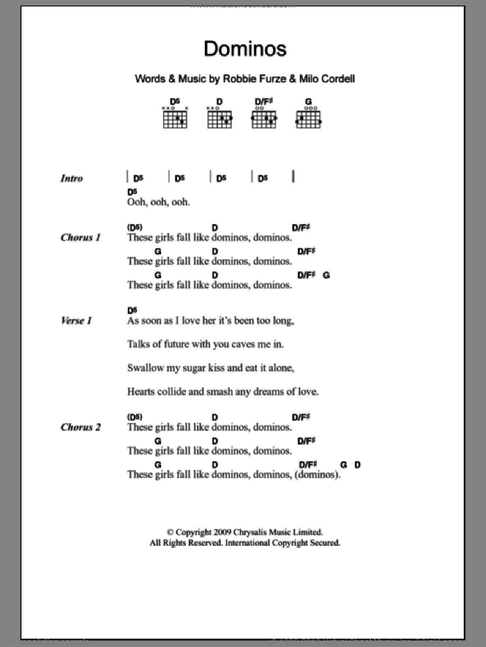 Dominos sheet music for guitar (chords) by The Big Pink, intermediate. Score Image Preview.