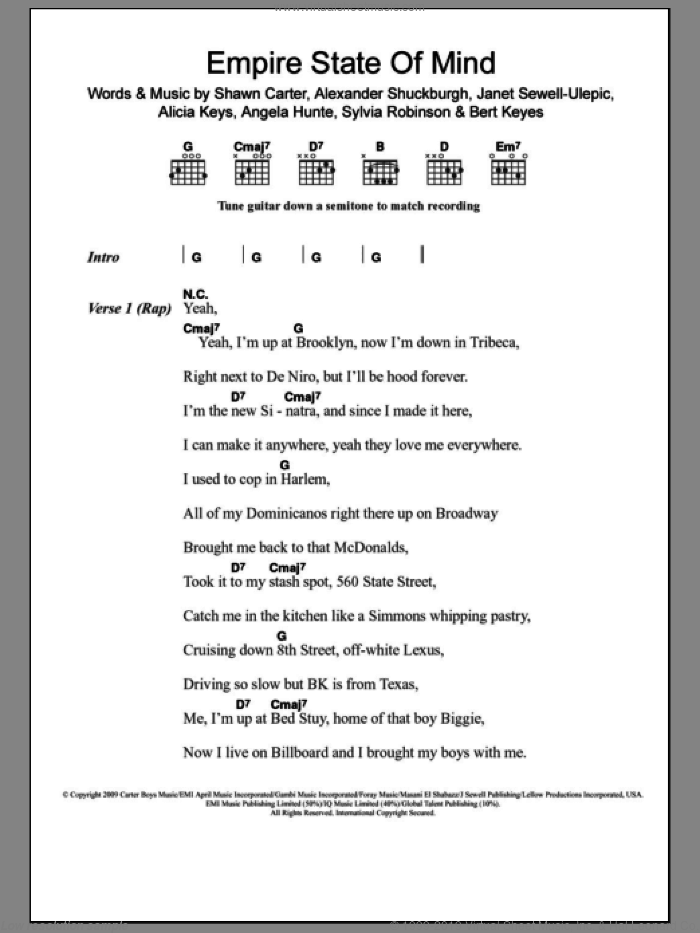 Empire State Of Mind sheet music for guitar (chords) by Jay-Z featuring Alicia Keys, Jay-Z, Al Shuckburgh, Alicia Keys, Angela Hunte, Bert Keyes, Janet Sewell-Ulepic, Shawn Carter and Sylvia Robinson, intermediate. Score Image Preview.