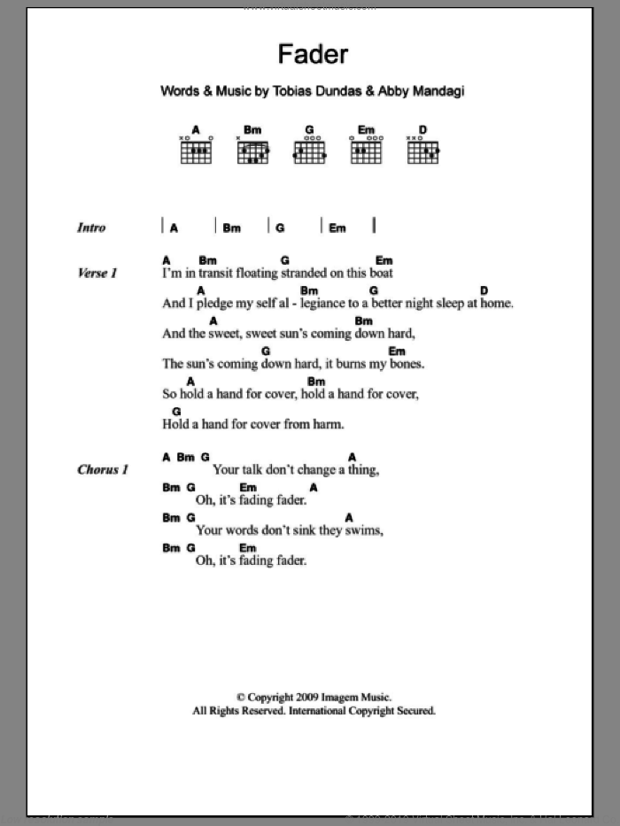 Fader sheet music for guitar (chords) by The Temper Trap. Score Image Preview.
