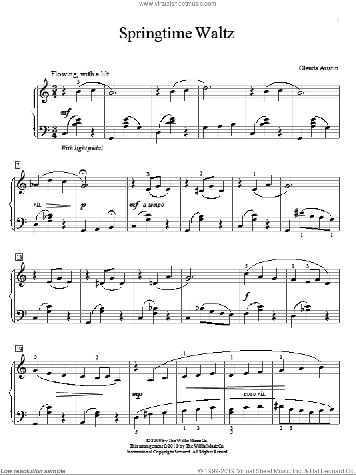 Springtime Waltz sheet music for piano solo (elementary) by Glenda Austin, classical score, beginner piano (elementary)