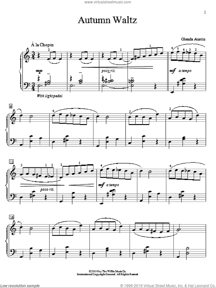 Autumn Waltz sheet music for piano solo (elementary) by Glenda Austin, classical score, beginner piano (elementary). Score Image Preview.