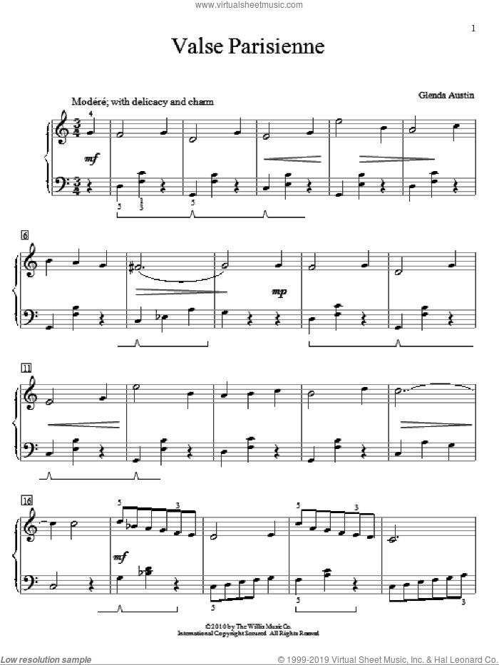 Valse Parisienne sheet music for piano solo (elementary) by Glenda Austin, classical score, beginner piano (elementary)