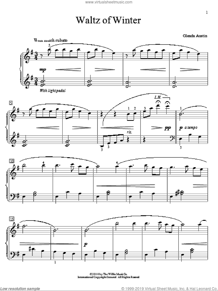 Waltz Of Winter sheet music for piano solo (elementary) by Glenda Austin. Score Image Preview.