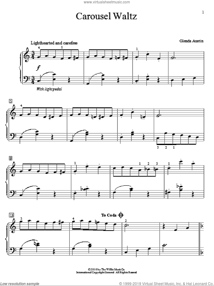 Carousel Waltz sheet music for piano solo (elementary) by Glenda Austin, classical score, beginner piano (elementary)