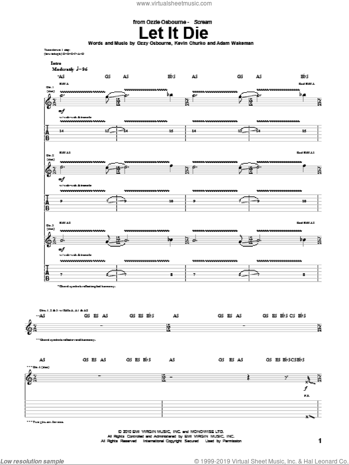 Let It Die sheet music for guitar (tablature) by Ozzy Osbourne, Adam Wakeman and Kevin Churko, intermediate skill level