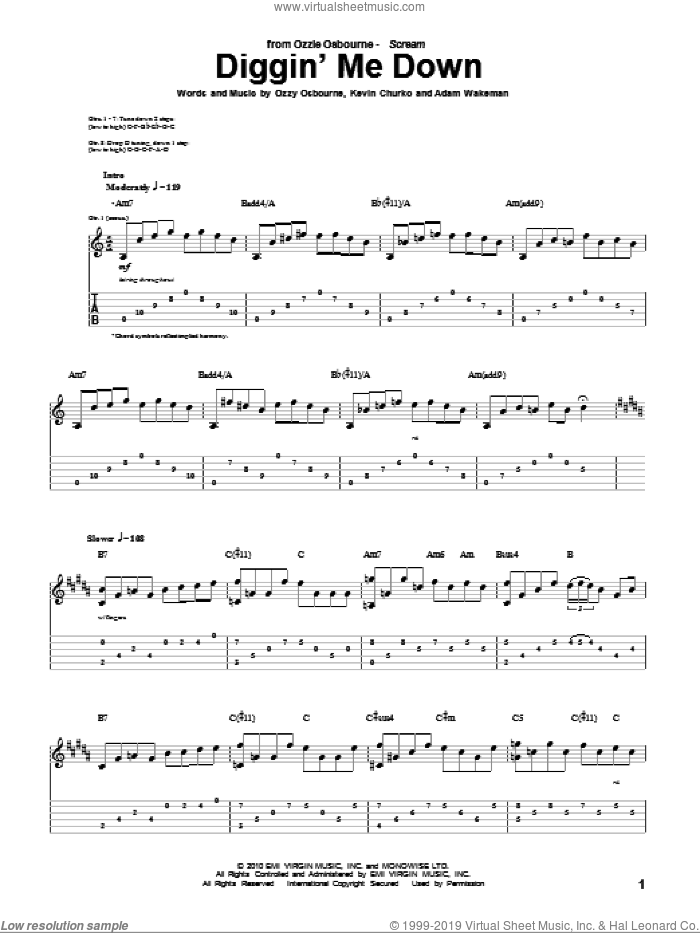 Diggin' Me Down sheet music for guitar (tablature) by Ozzy Osbourne, Adam Wakeman and Kevin Churko, intermediate skill level