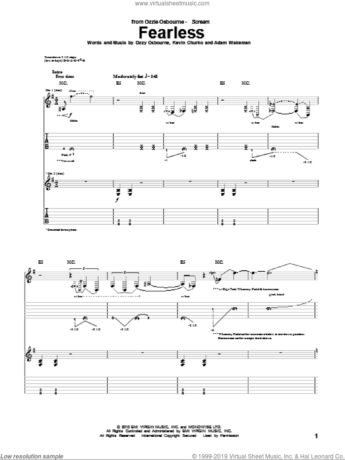 Fearless sheet music for guitar (tablature) by Ozzy Osbourne, Adam Wakeman and Kevin Churko, intermediate skill level