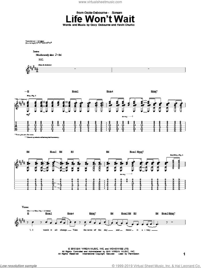 Life Won't Wait sheet music for guitar (tablature) by Kevin Churko and Ozzy Osbourne. Score Image Preview.