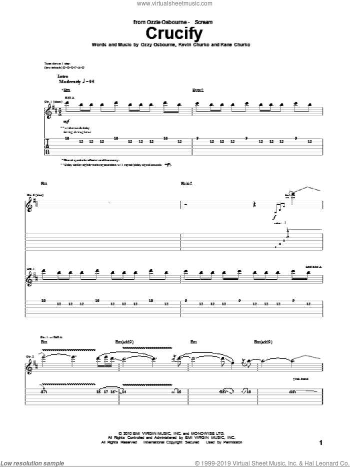 Crucify sheet music for guitar (tablature) by Ozzy Osbourne, Kane Churko and Kevin Churko, intermediate skill level