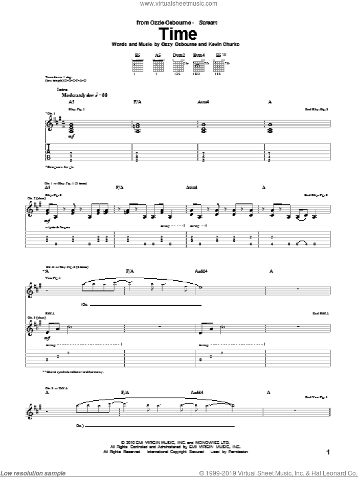 Time sheet music for guitar (tablature) by Ozzy Osbourne, intermediate guitar (tablature). Score Image Preview.
