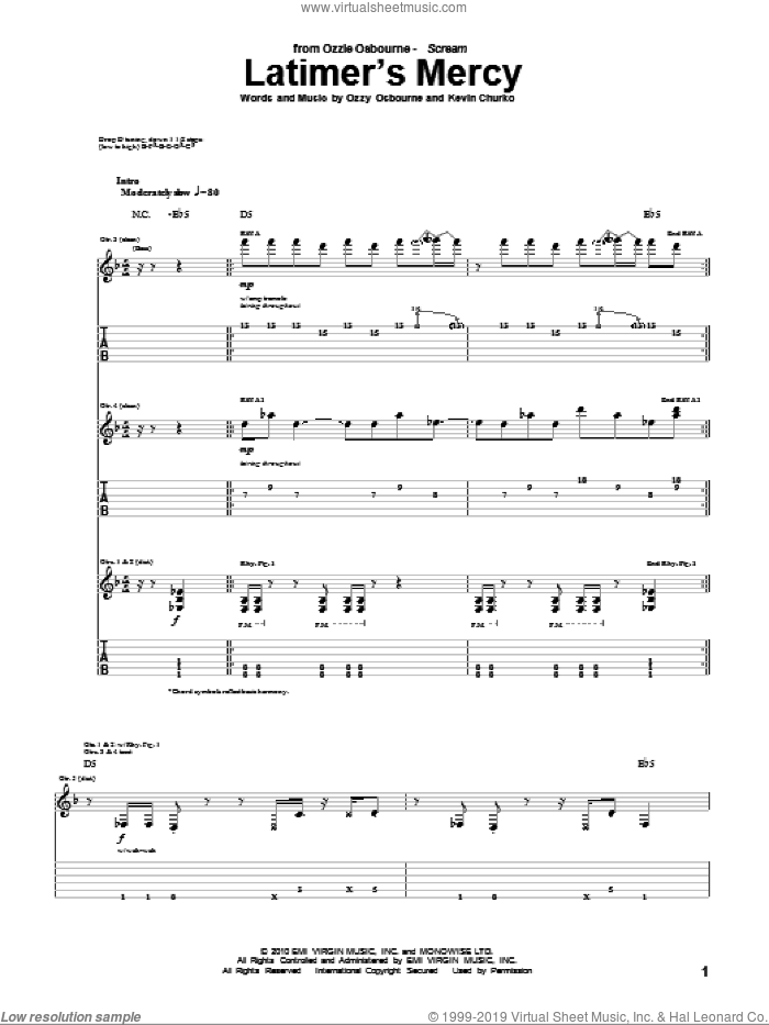 Latimer's Mercy sheet music for guitar (tablature) by Kevin Churko and Ozzy Osbourne. Score Image Preview.