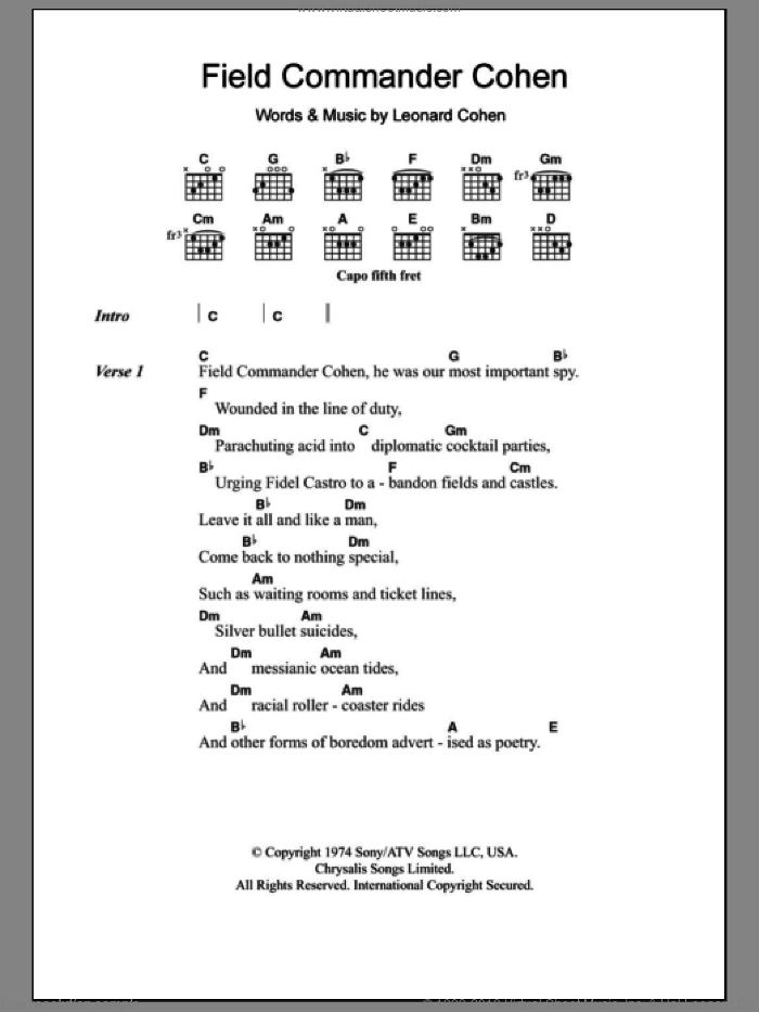 Field Commander Cohen sheet music for guitar (chords) by Leonard Cohen. Score Image Preview.