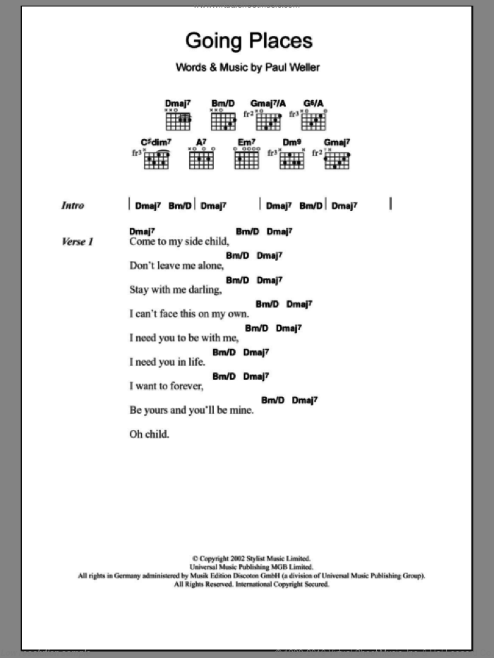 Going Places sheet music for guitar (chords) by Paul Weller. Score Image Preview.