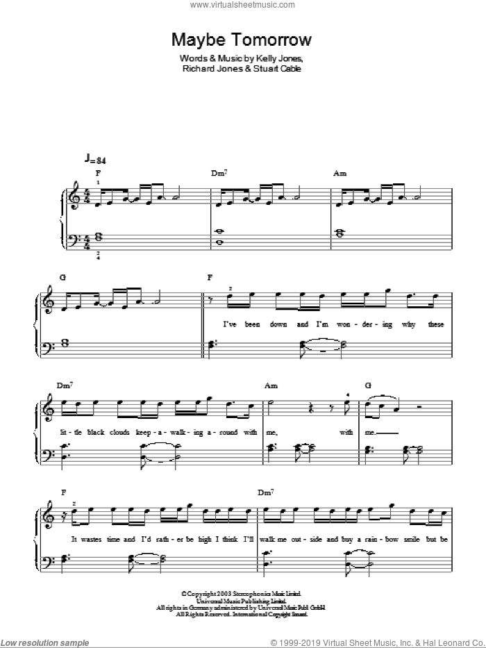 Maybe Tomorrow sheet music for piano solo by Stuart Cable, Stereophonics, Kelly Jones and Richard Jones. Score Image Preview.