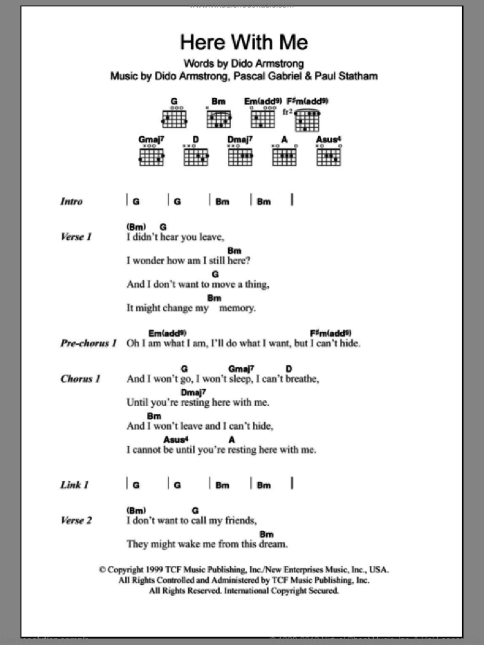 Here With Me sheet music for guitar (chords) by Paul Statham, Dido Armstrong and Pascal Gabriel. Score Image Preview.