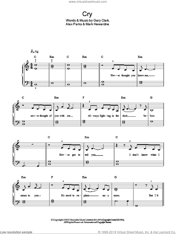 Cry sheet music for piano solo by Mark Hewardine, Alex Parks and Gary Clark. Score Image Preview.