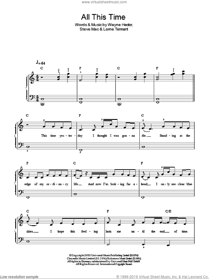 All This Time sheet music for piano solo by Michelle MacManus, Lorne Tennant, Steve Mac and Wayne Hector, easy skill level