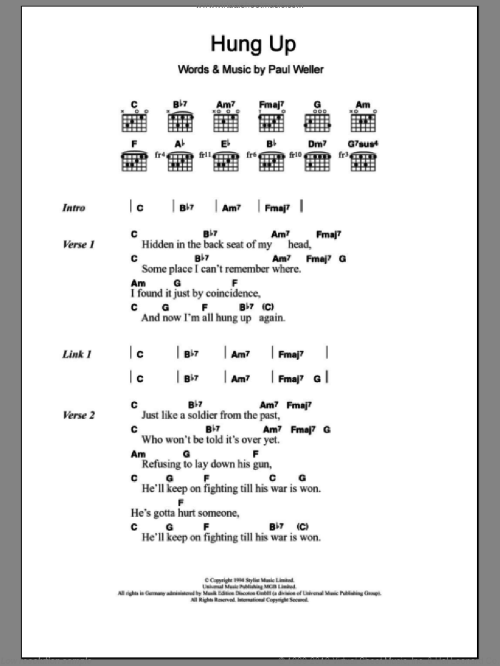 Hung Up sheet music for guitar (chords) by Paul Weller, intermediate skill level