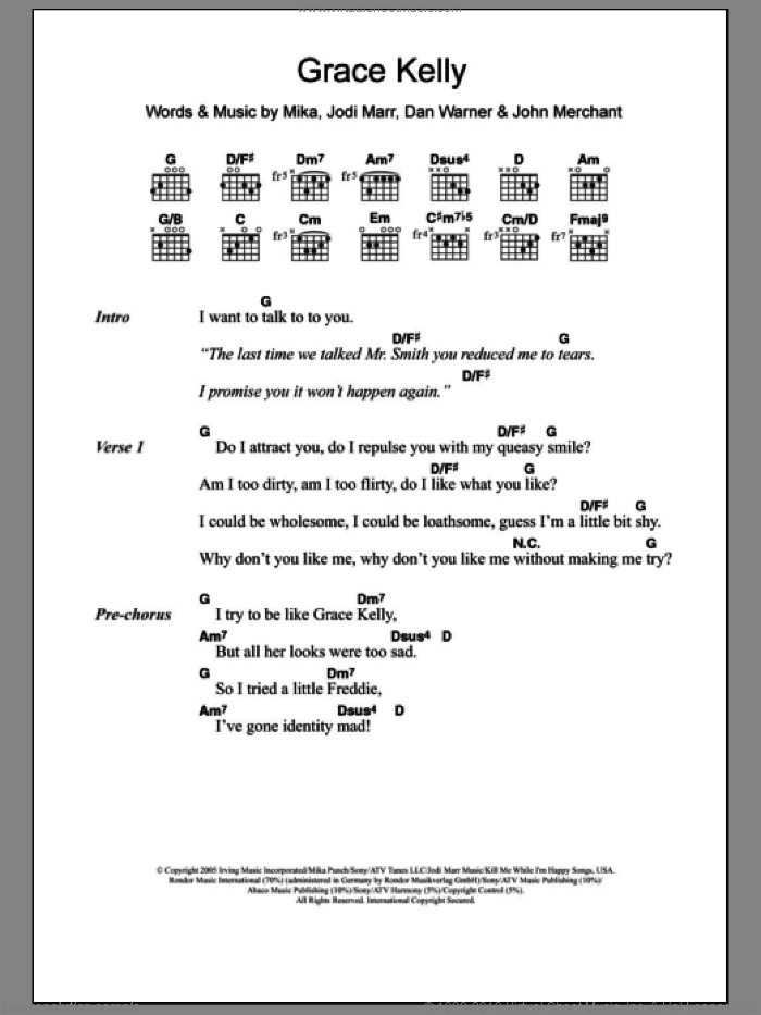 Grace Kelly sheet music for guitar (chords) by Mika, Dan Warner, Jodi Marr and John Merchant, intermediate
