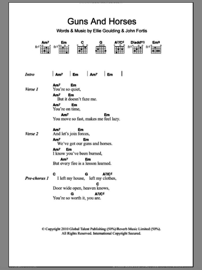 Guns And Horses sheet music for guitar (chords) by Ellie Goulding and John Fortis, intermediate skill level