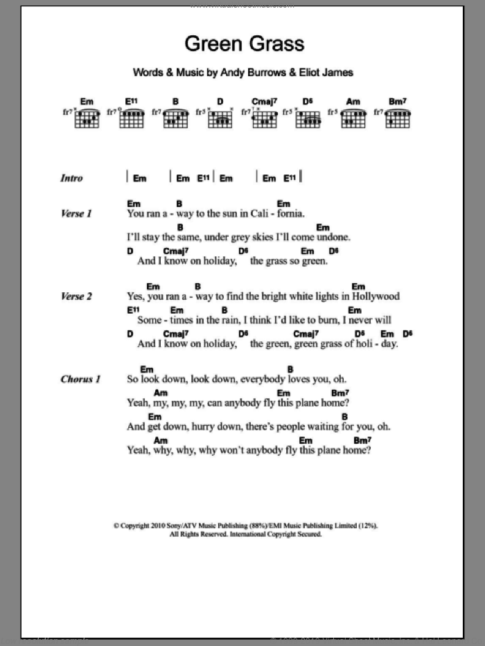 Green Grass sheet music for guitar (chords) by I Am Arrows, Andy Burrows and Eliot James, intermediate. Score Image Preview.