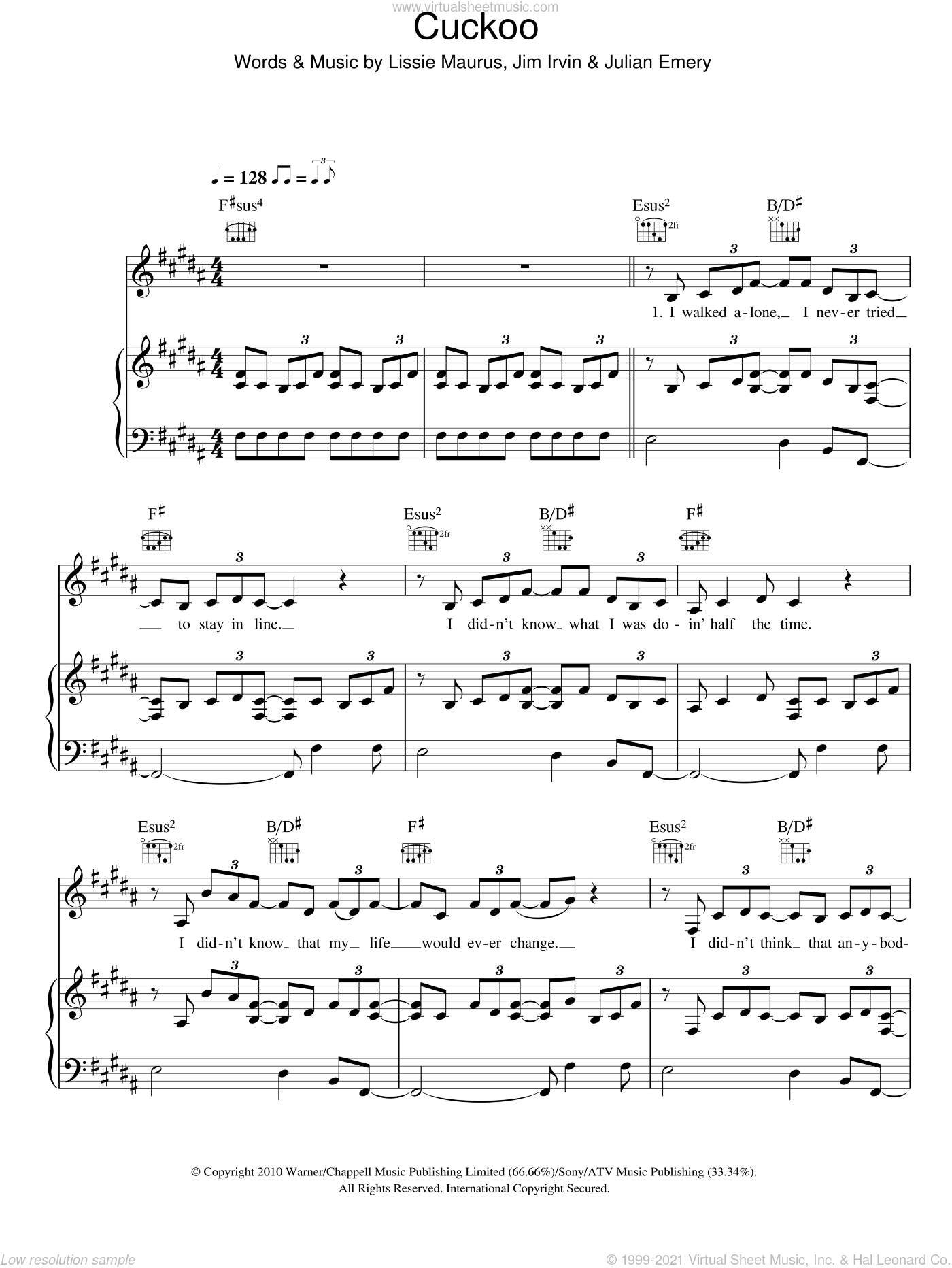 Cuckoo sheet music for voice, piano or guitar by Lissie Maurus