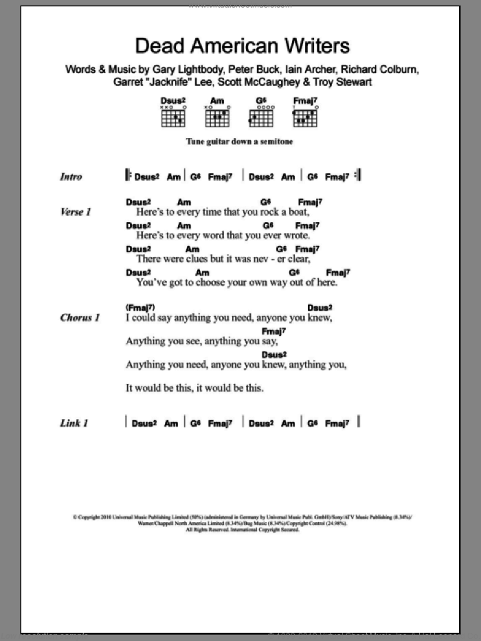 Dead American Writers sheet music for guitar (chords) by Tired Pony, intermediate guitar (chords). Score Image Preview.