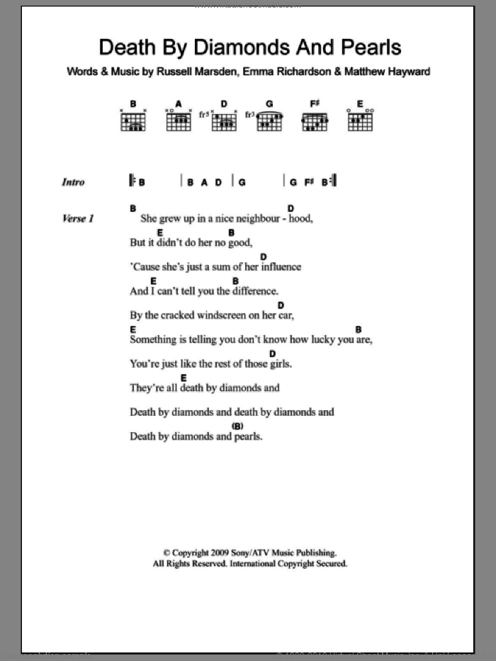 Death By Diamonds And Pearls sheet music for guitar (chords) by Band Of Skulls, Emma Richardson, Matthew Hayward and Russell Marsden, intermediate skill level