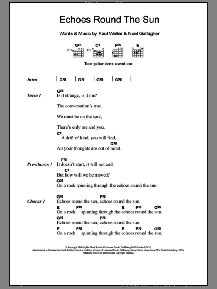 Echoes Round The Sun sheet music for guitar (chords, lyrics, melody) by Noel Gallagher