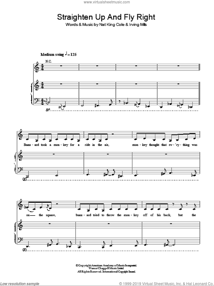 Straighten Up And Fly Right sheet music for voice, piano or guitar by Nat King Cole