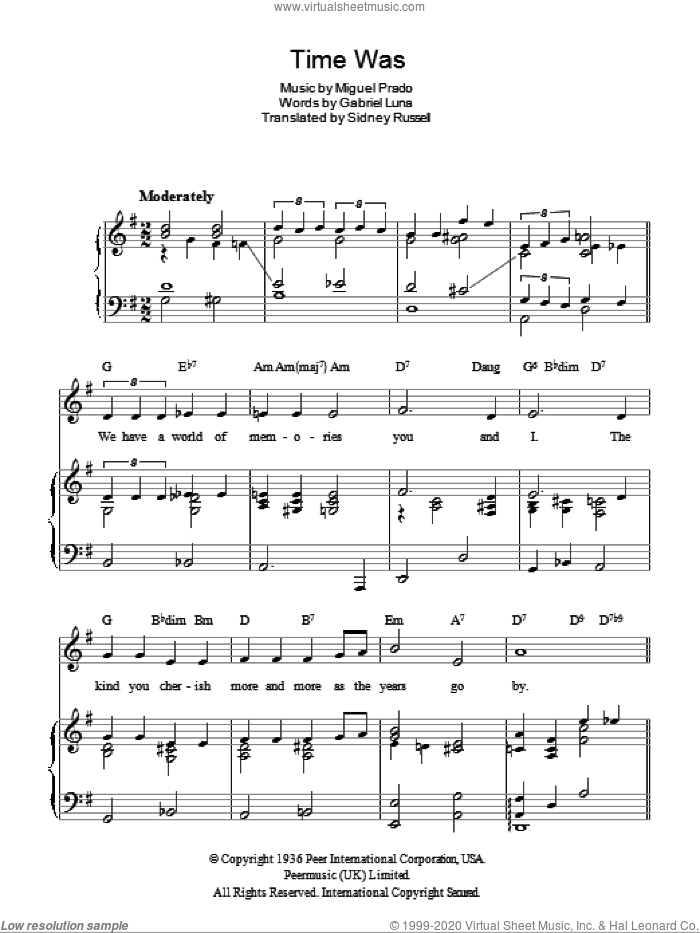 Time Was (Duerme) sheet music for voice, piano or guitar by Sidney Russell and Miguel Prado. Score Image Preview.