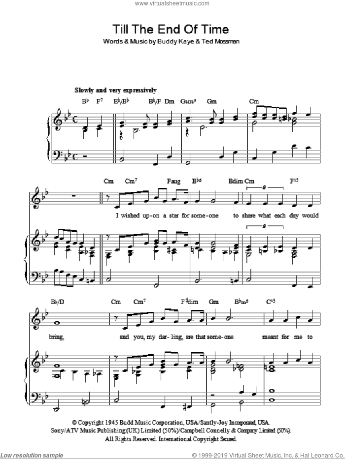 Como - Till The End Of Time sheet music for voice, piano or guitar
