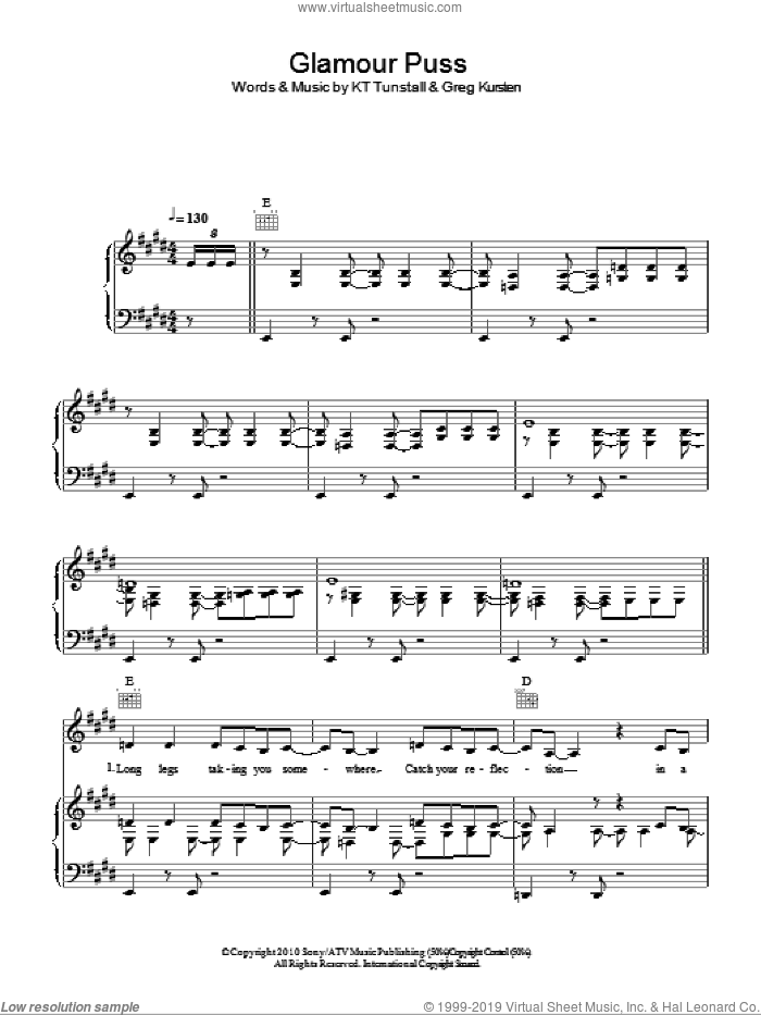 Glamour Puss sheet music for voice, piano or guitar by KT Tunstall and Greg Kurstin, intermediate skill level
