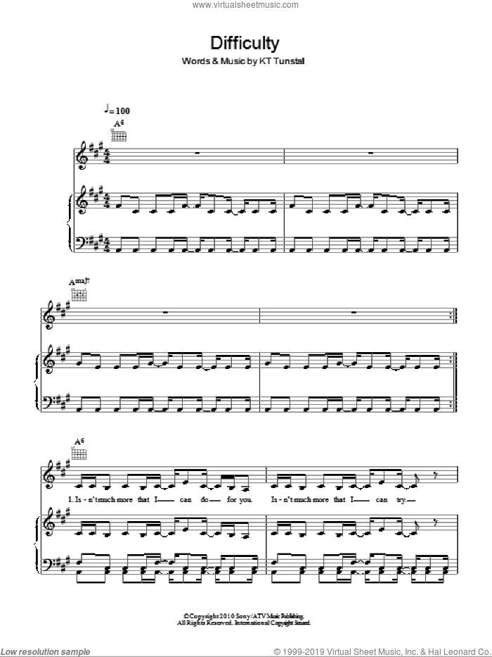 Difficulty sheet music for voice, piano or guitar by KT Tunstall. Score Image Preview.