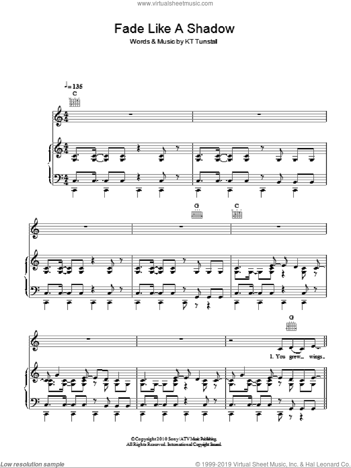 Fade Like A Shadow sheet music for voice, piano or guitar by KT Tunstall, intermediate skill level