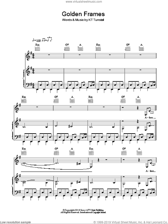 Golden Frames sheet music for voice, piano or guitar by KT Tunstall, intermediate skill level