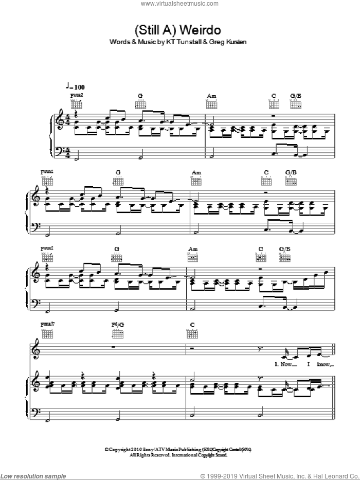 (Still A) Weirdo sheet music for voice, piano or guitar by Greg Kurstin and KT Tunstall. Score Image Preview.