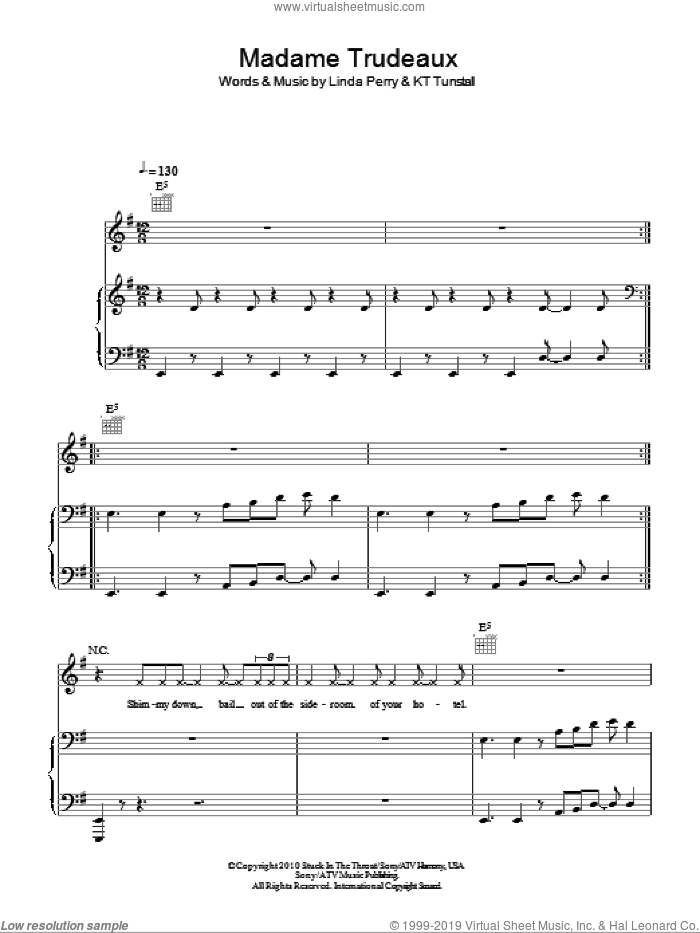 Madame Trudeaux sheet music for voice, piano or guitar by Linda Perry and KT Tunstall. Score Image Preview.
